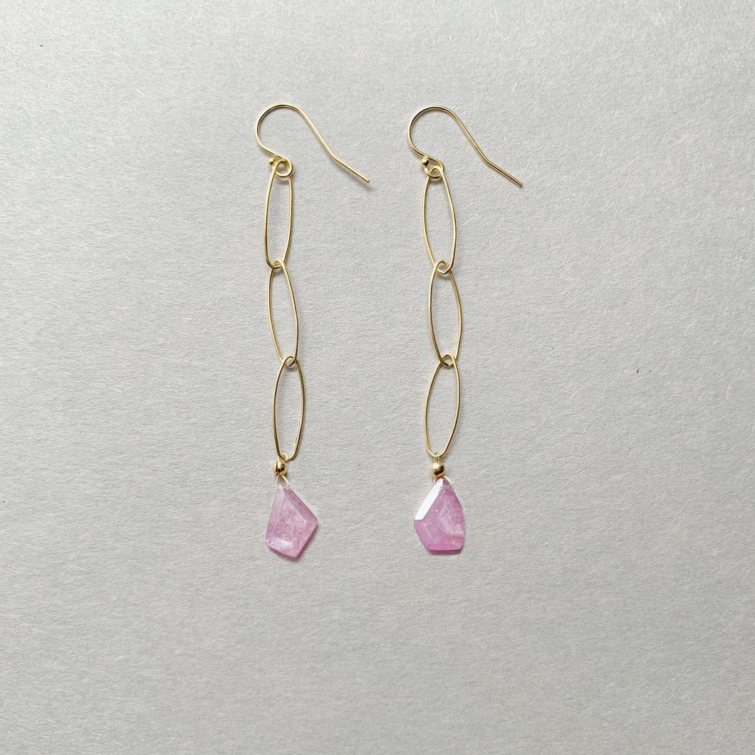 pink sapphire - chain drop earrings