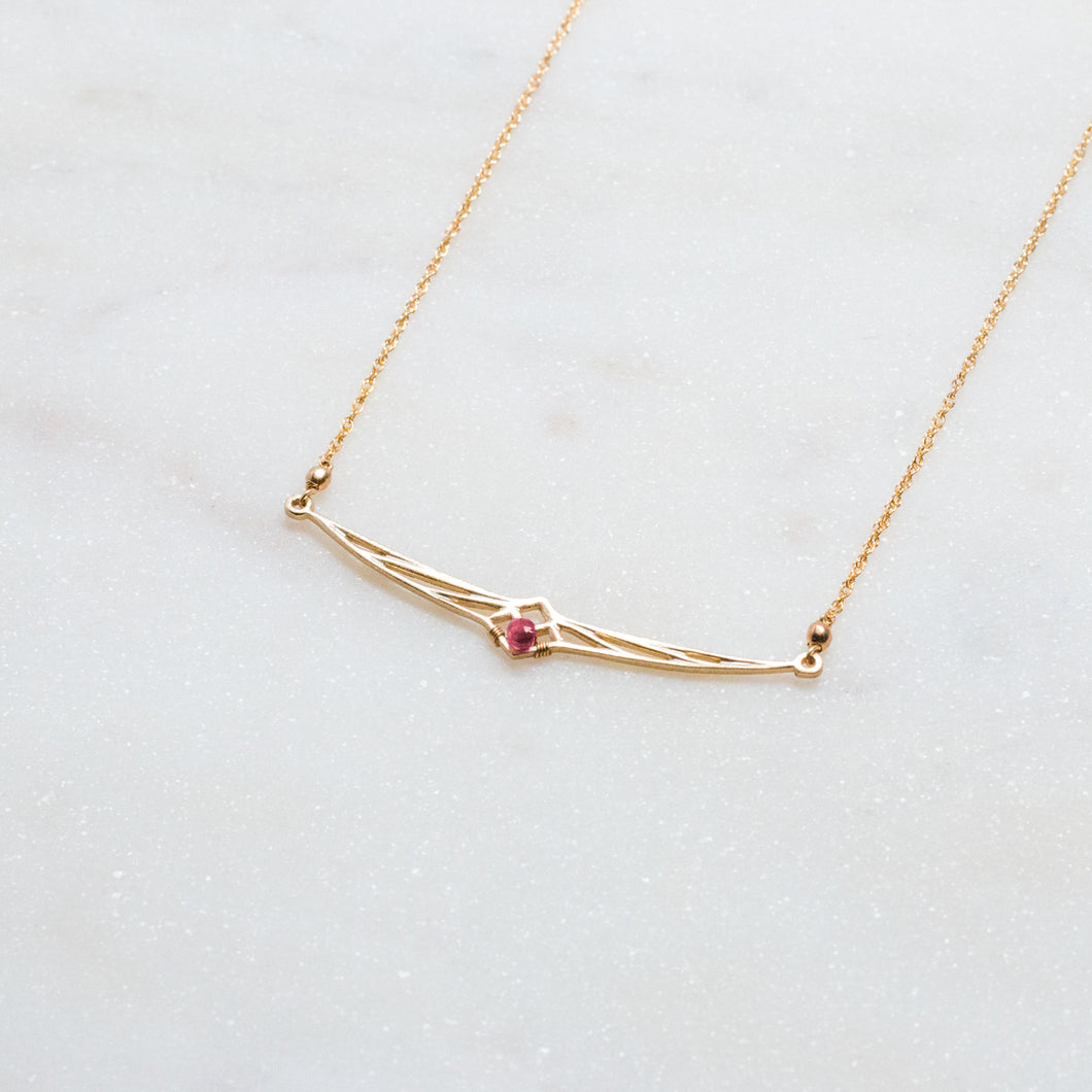 deco bar necklace - ruby