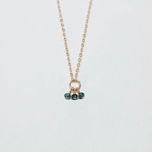 may birthstone - emerald - charm necklace