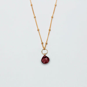 january birthstone - garnet - charm necklace