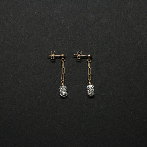three-stone chain drop earrings