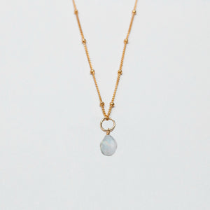 june birthstone - moonstone - charm necklace
