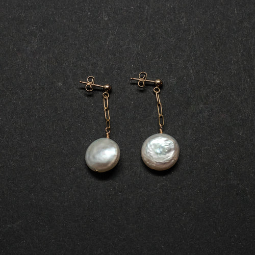 CLASSICAL PEARLS - COIN PEARL POST DROP EARRINGS