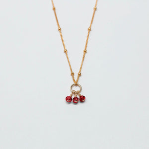 july birthstone - ruby - charm necklace