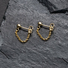 "Load image into Gallery viewer, ""front-to-back"" chain earrings - round link"