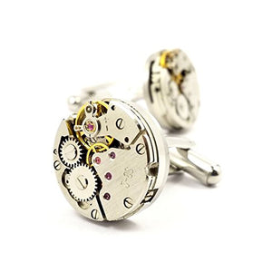 CUFFLINKS - ROUND WATCH MOVEMENT