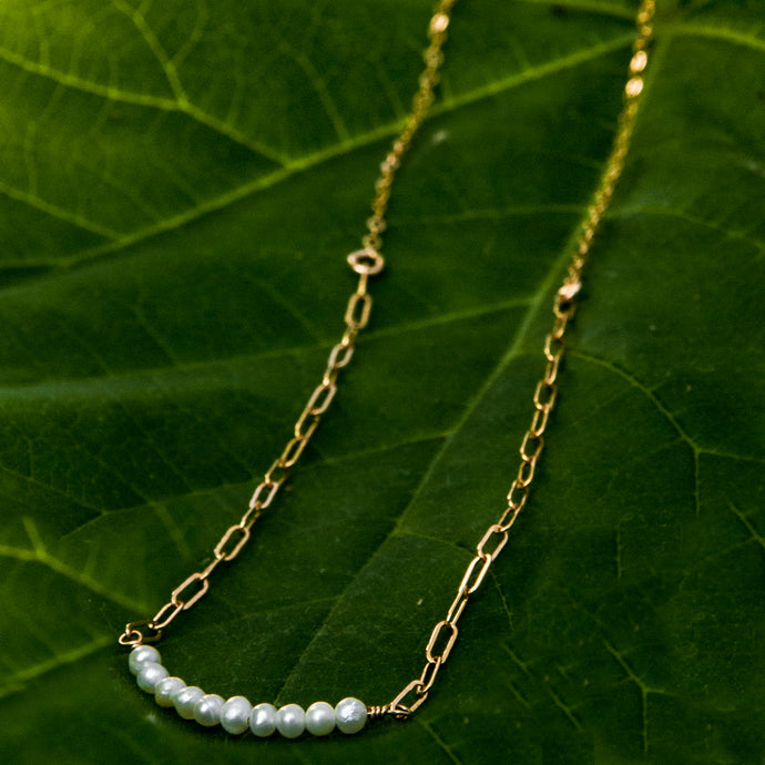 baby pearl bar duo-chain necklace