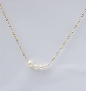 graduated pearl bar necklace