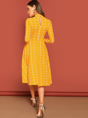 Mock-neck Grid Flare Midi Dress