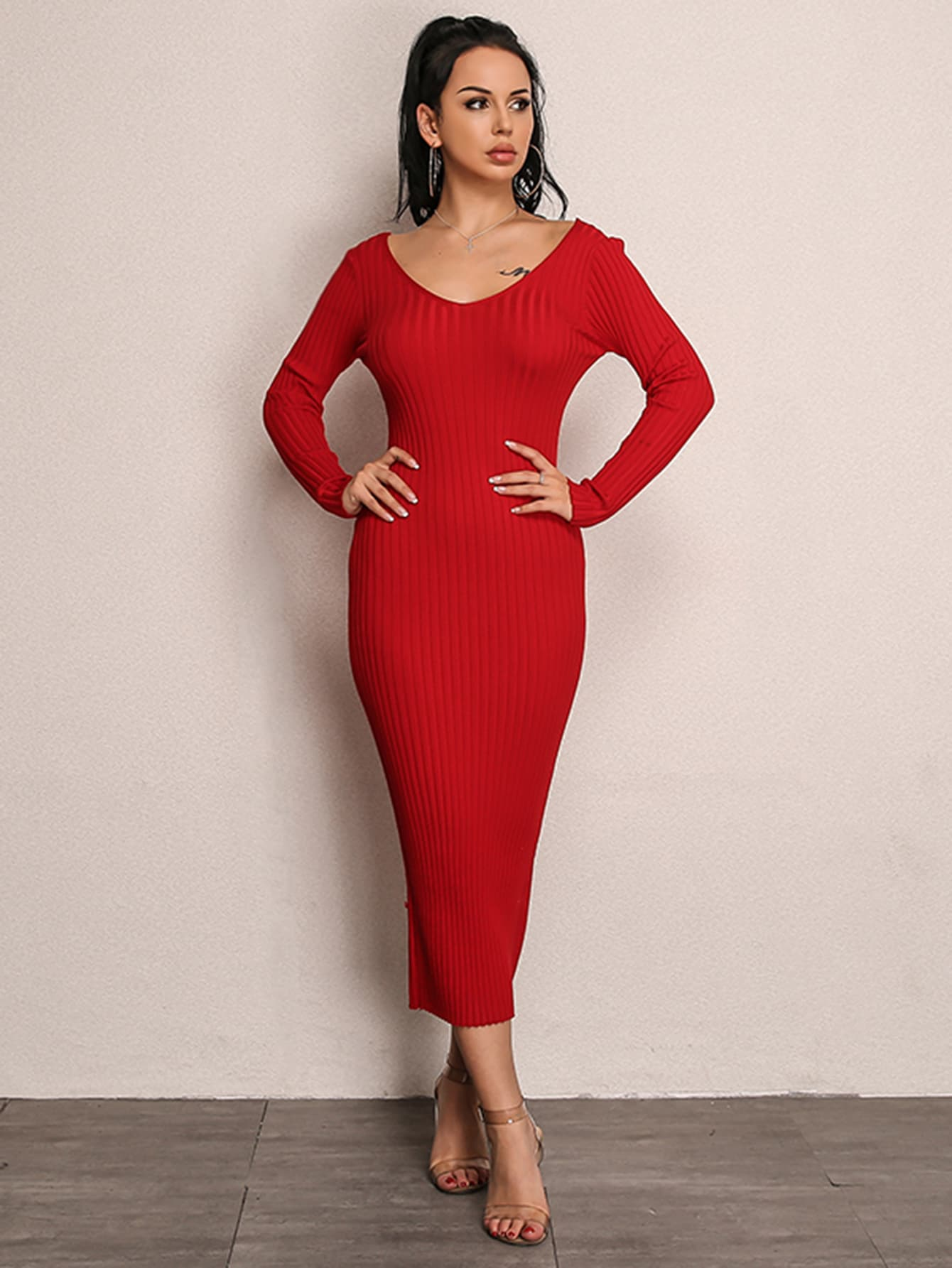 Joyfunear Double V Neckline Rib Knit Dress