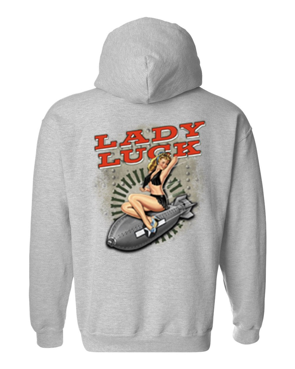Men's/Unisex Pullover Hoodie S*xy Vintage Lady Luck On Navy Bomb