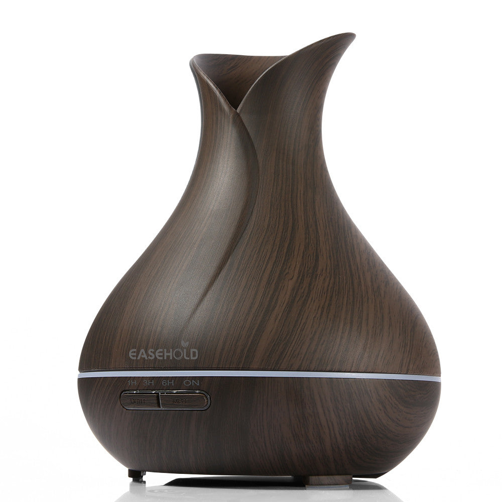 Ultrasonic Aromatherapy Humidifier with Colorful Lights Wood Grain 400ml Air Purifier