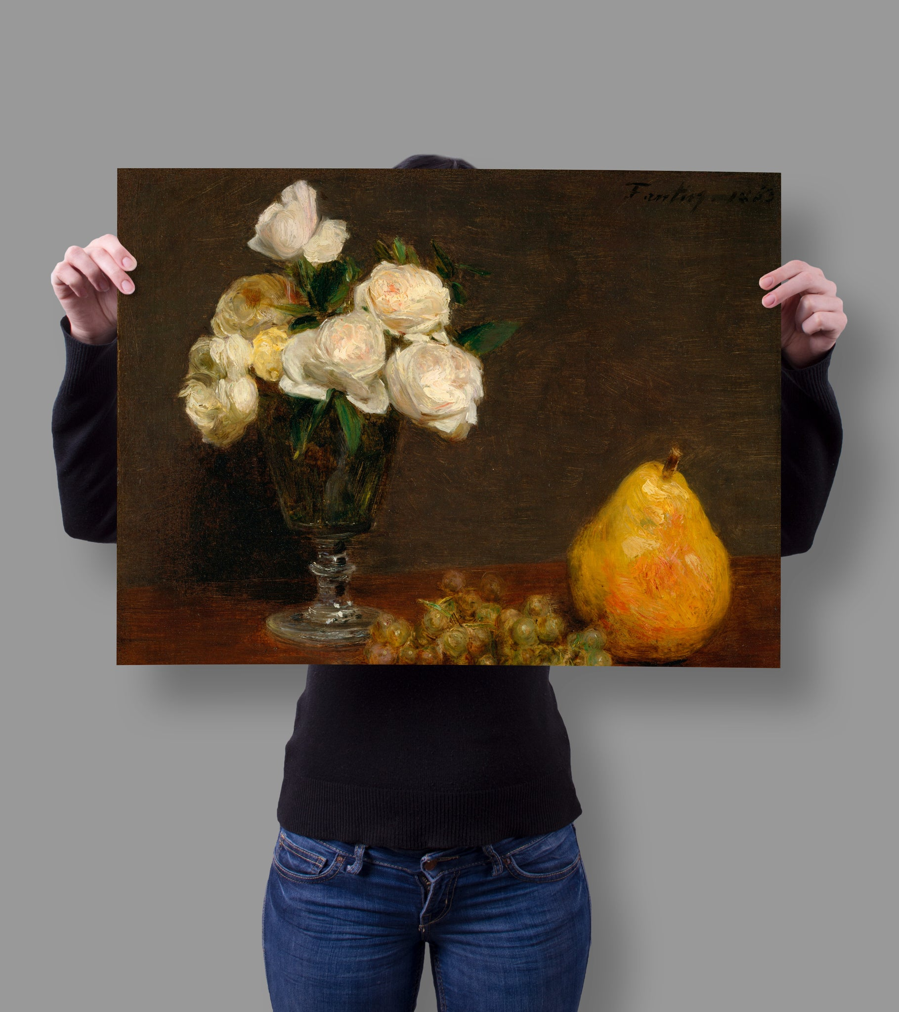Still Life with Roses and Fruit by Henri Fantin-Latour 18x24 Poster