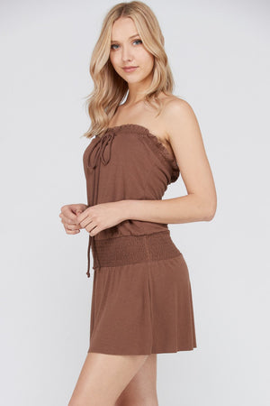 Women's Smock Strapless Dress with Elastic Waistband