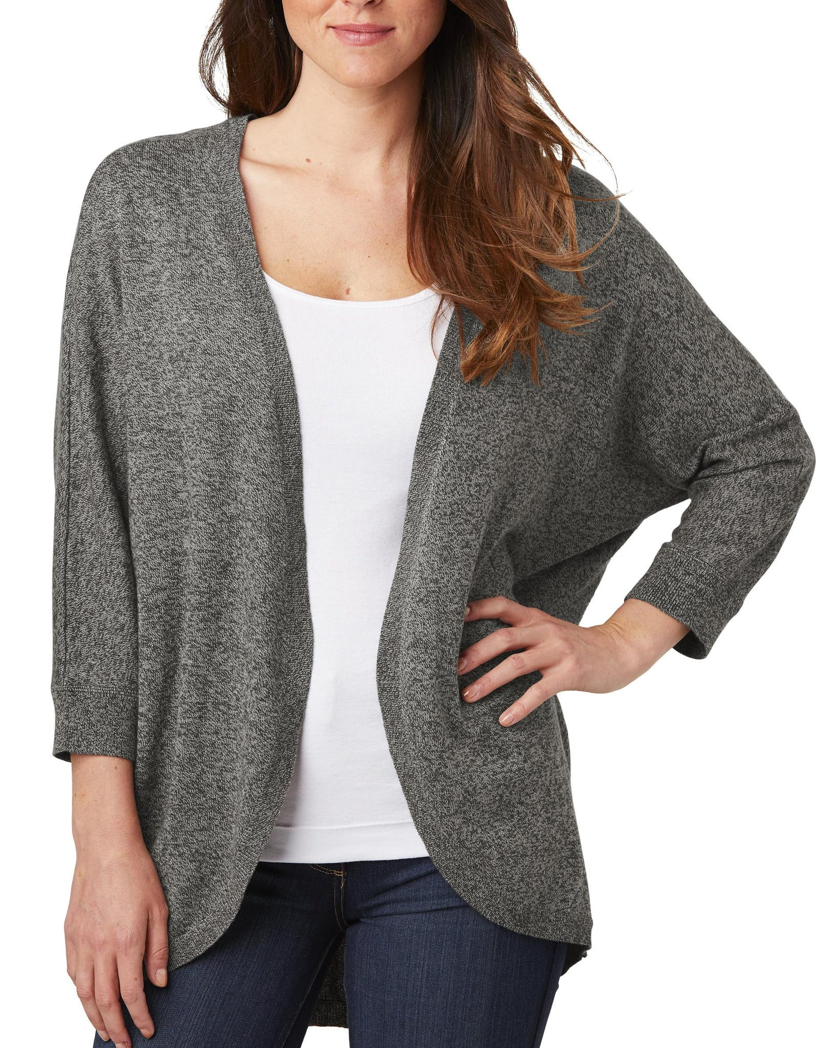 Upscale Ladies 3/4 Dolman Sleeve Marled Cocoon Sweater