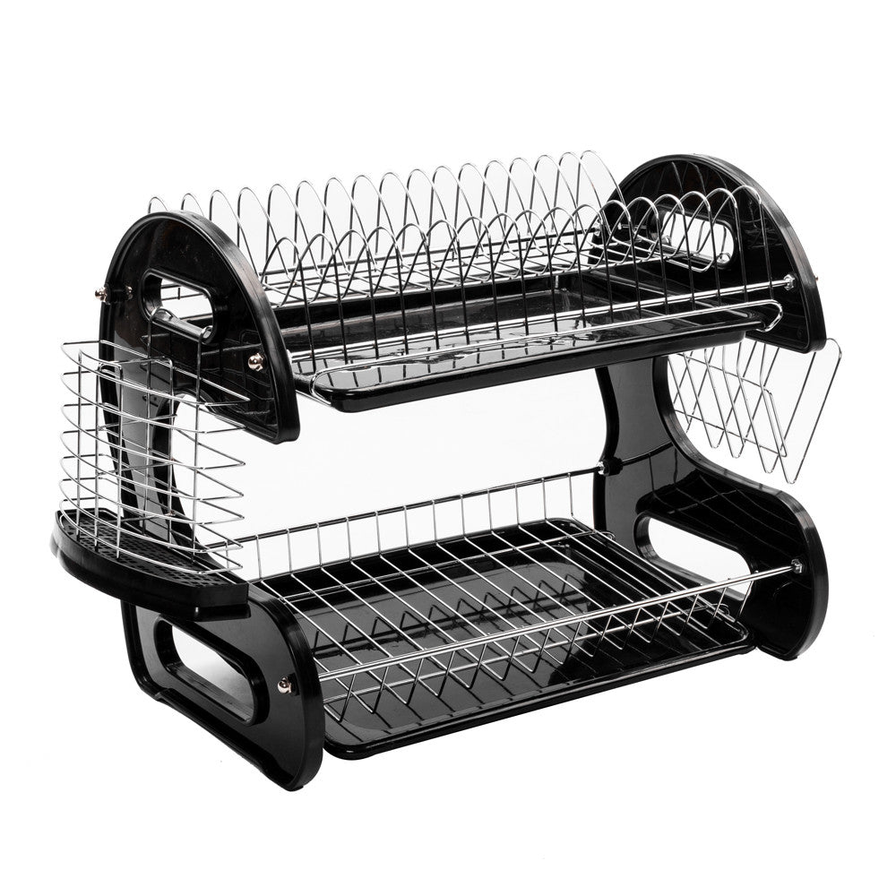 Multifunctional Dual Layers Bowls & Dishes & Chopsticks & Spoons Collection Shelf Dish Drainer Black