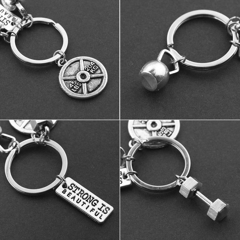 DUMBBELL BARBELL WEIGHT Charm Chain Keychain Fitness Weightlifting Gym CROSSFIT
