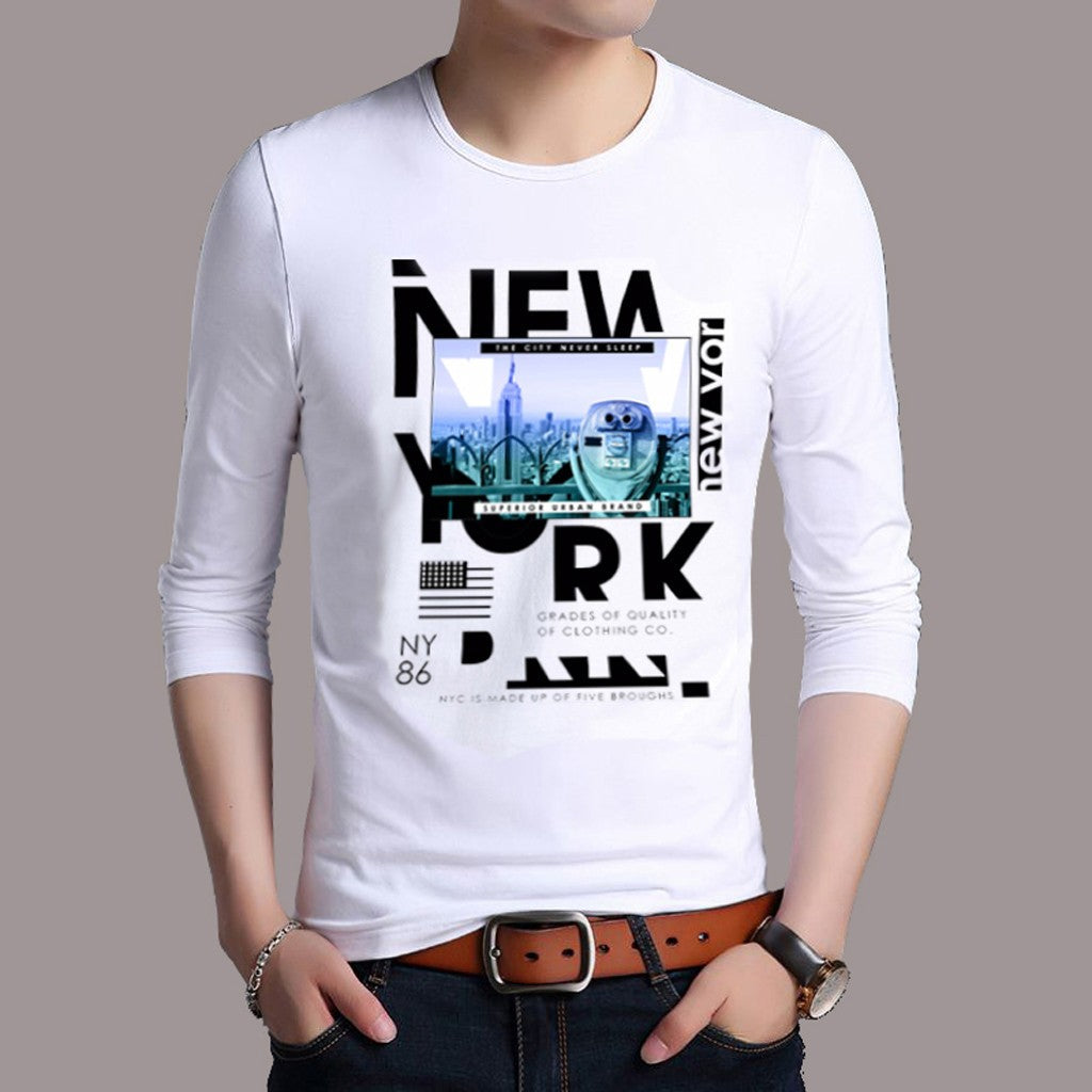 Men's New York Printed T-shirt / Cotton Long Sleeve