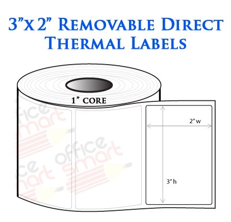 3X2 Direct Thermal Removable Labels For Zebra Gc420D Gc420T Gk420D Gk420T  Gx420D Gx420T Lp2844 Lp2442 Tlp2844 Zp450 Barcode Printer - 1 Roll