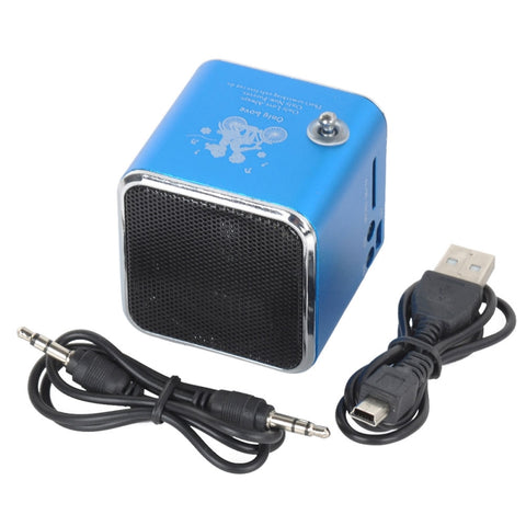 Image of 2pcs Mini Multimedia Speaker MP3 Player USB FM Radio Blue
