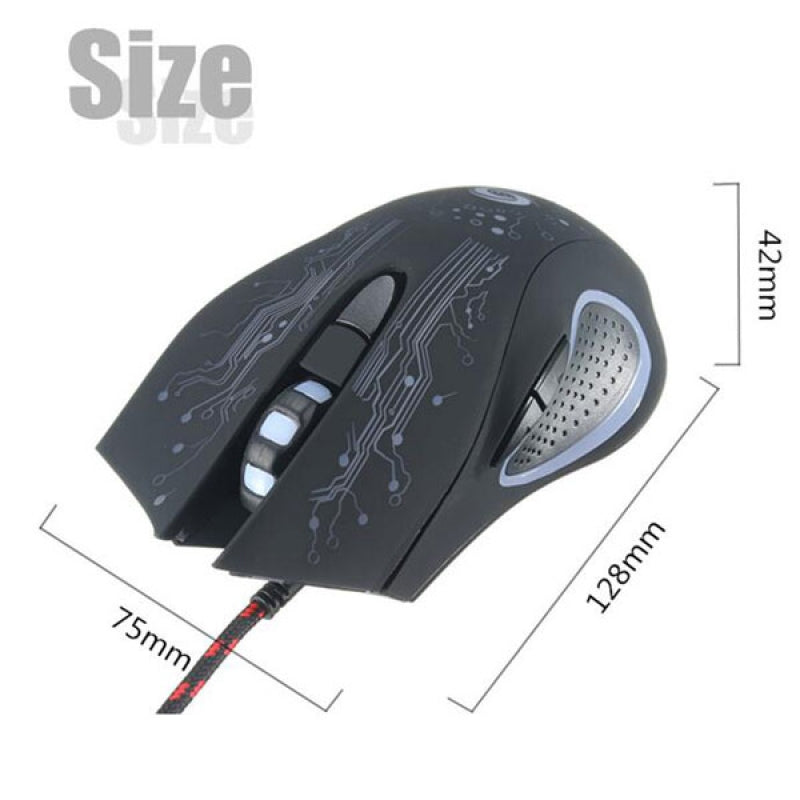 6-Key 3200dpi LED USB Wired Optical Gaming Mouse for Pro Gamer Random Delivery