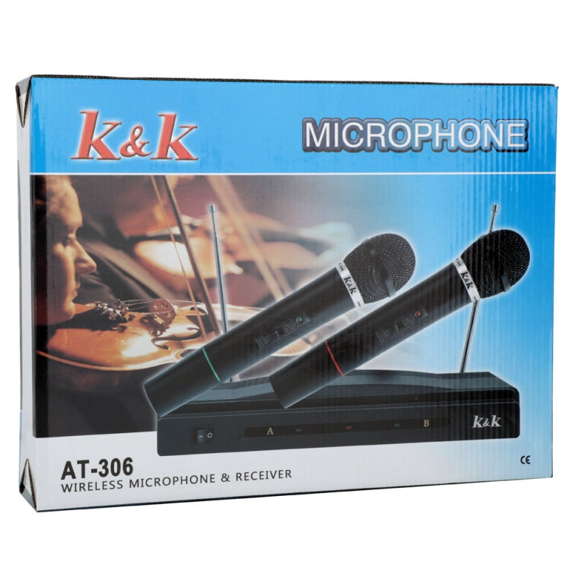 AT-306 Wireless Dual Handheld Microphone KTV Bar Stage Equipment Black