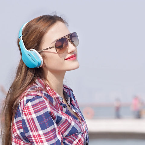 Image of Ausdom M07 Bluetooth Wireless Stereo Headphones Headset Blue