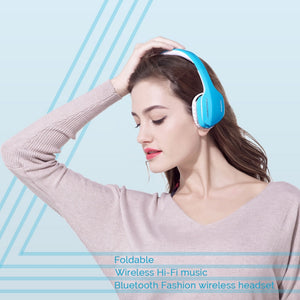 Ausdom M07 Bluetooth Wireless Stereo Headphones Headset Blue