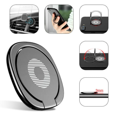 Baseus Universal 360° Adjustable Collapsible Desktop Bracket Ring Holder for Mobile Phone - Black