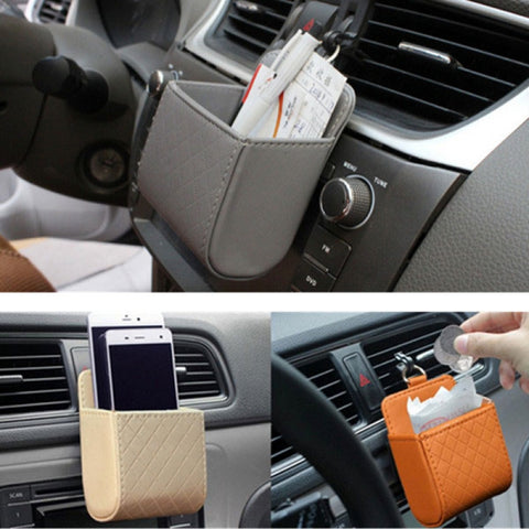 Car Accessories Air PU Box Organizer Phone Pocket Pouch Vehicle Bag Holder Beige