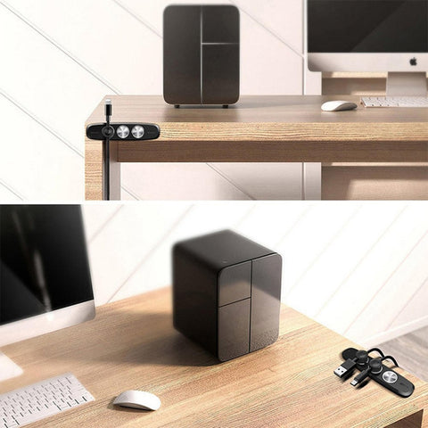 Car Magnetic USB Wire Fixed Cable Clip Charging Line Holder Storage Management for iPhone XS - Black