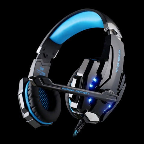 KOTION EACH G9000 3.5mm Glaring LED Light Gaming Headset with Mic for Laptop / Phones / PS4 Blue & Black