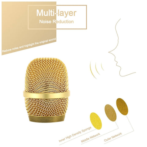 Image of Q7 Dual-Speaker Cellphone Karaoke Wireless Bluetooth Microphone Golden & White