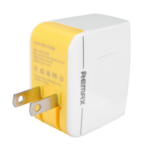 REMAX 2 USB Ports Fast Charge Power Adapter for Tablet PC Cellphones US Plug White