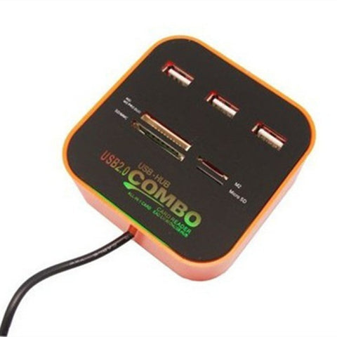 USB Hub 2.0 480Mbps USB Combo Card Reader All In One Multi USB Splitter for MacBook Air PC Laptop Orange