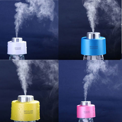 USB Mini Portable Bottle Cap Air Humidifier for Office Home White