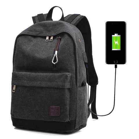 Unisex Fashion USB Charge 15/17 inch Laptop Notebook Computer Backpack Bag for Walking Travelling Black