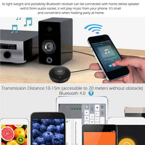 TS-BT35A09 Wireless Bluetooth Receiver Stereo Bluetooth 4.0 3.5mm AUX Hands-Free Bluetooth Car Kit for Car Vehicular Audio System Home Audio System Computer Black