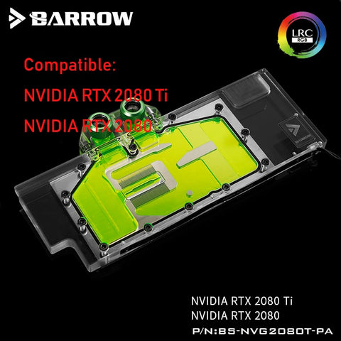 Barrow gpu cooler for NVIDIA RTX 2080 Ti GPU water block watercooling gadget