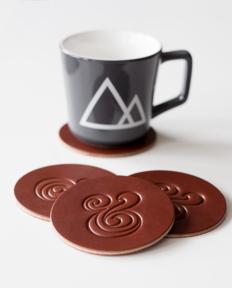 Leather Coasters (Brown - Set of 4)