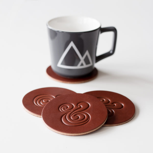 Leather Coaster Set (Brown)