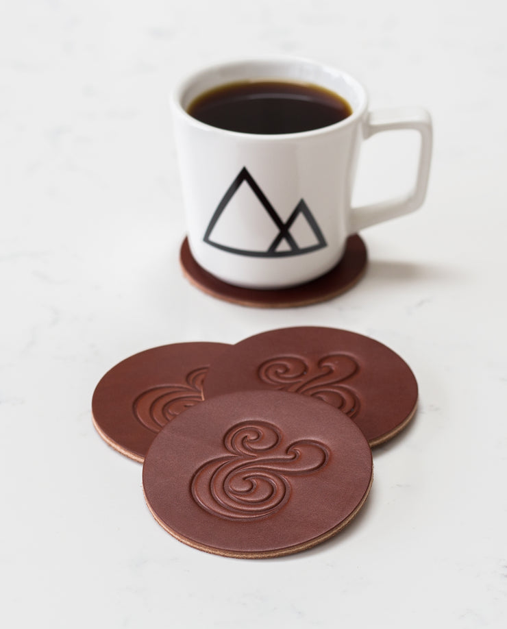 Leather Coasters (Ampersand - Set of 2 - Brown)