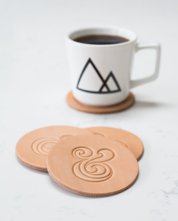 Leather Coasters (Ampersand - Set of 2 - Natural)