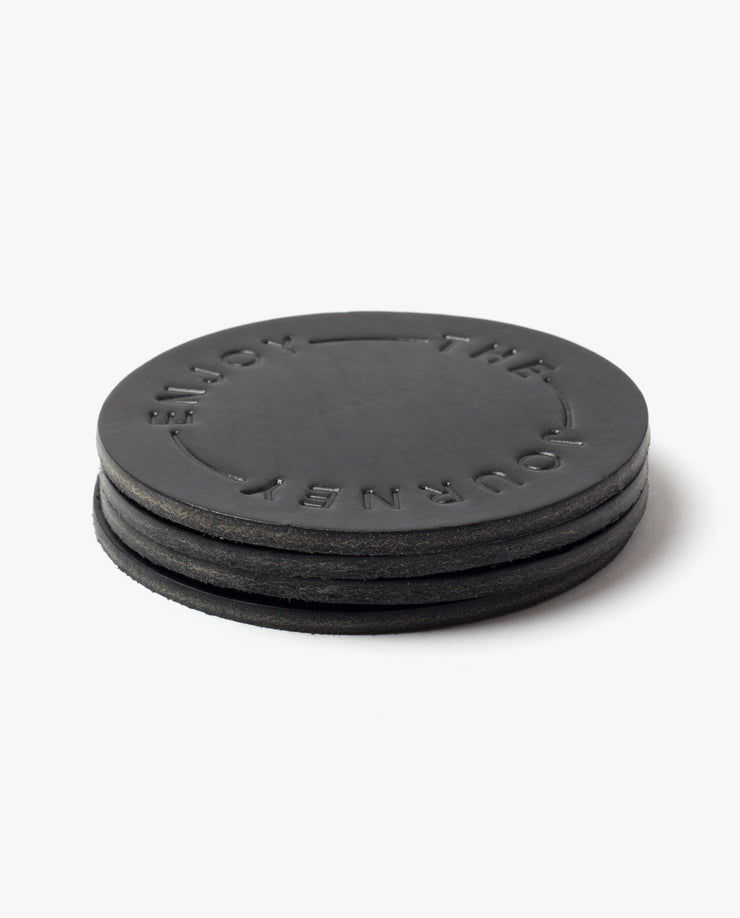 Leather Coasters (Enjoy the Journey - Set of 2 - Black)