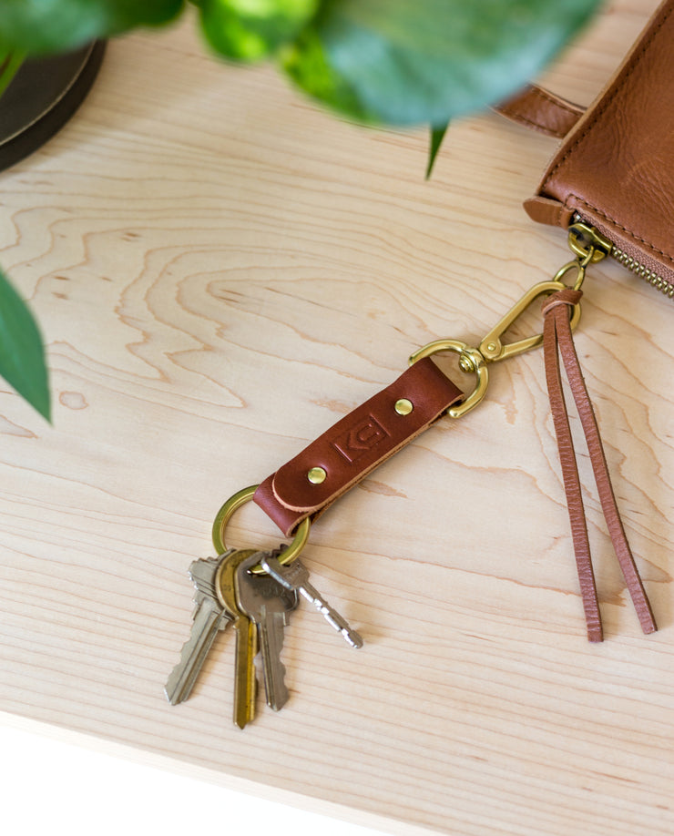 Leather Key Clip (Cognac)