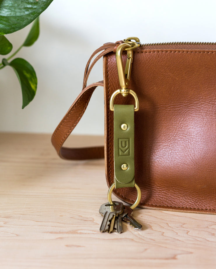 Leather Key Clip (Olive)
