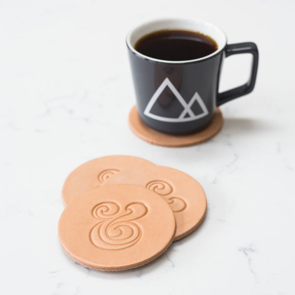 Leather Coaster Set (Natural)
