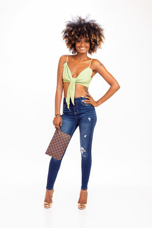 642e4cd99c6b9d Lettuce Green Tie Front Crop Top – Shop With Shani