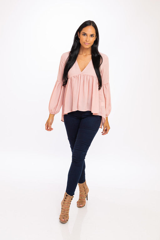 4ca6e4f49536 Blush V Neck High Low Blouse