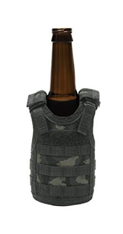 Tactical Premium Beer Military Molle Mini Miniature Vests Beverage Cooler For 12Oz Or 16Oz Beverages Cans And Bottles - Adjustable Shoulder Straps - Acu